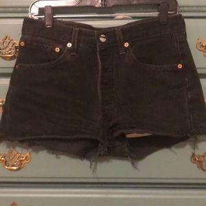 Vintage cut off frayed black 501 Levi shorts